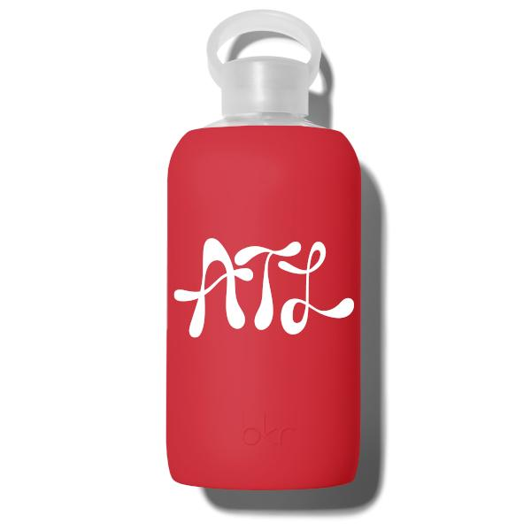 bkr Glass Water Bottle: 32oz AUGUST ATLANTA INITIALS 1L