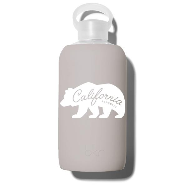 bkr Glass Water Bottle: 32oz HEATHER CALIFORNIA BEAR 1L