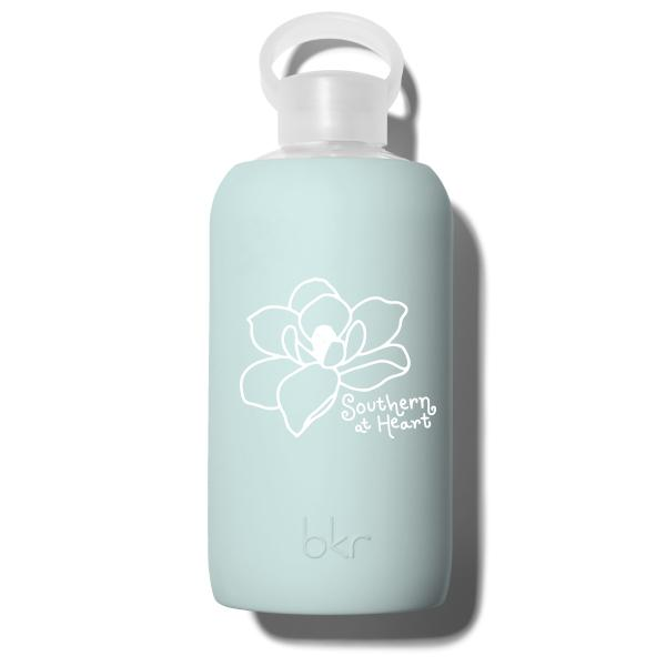 bkr Glass Water Bottle: 32oz JAMES SOUTHERN MAGNOLIA 1L