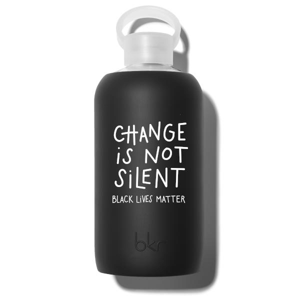 bkr Glass Water Bottle: 32oz JET CHANGE IS NOT SILENT 1L