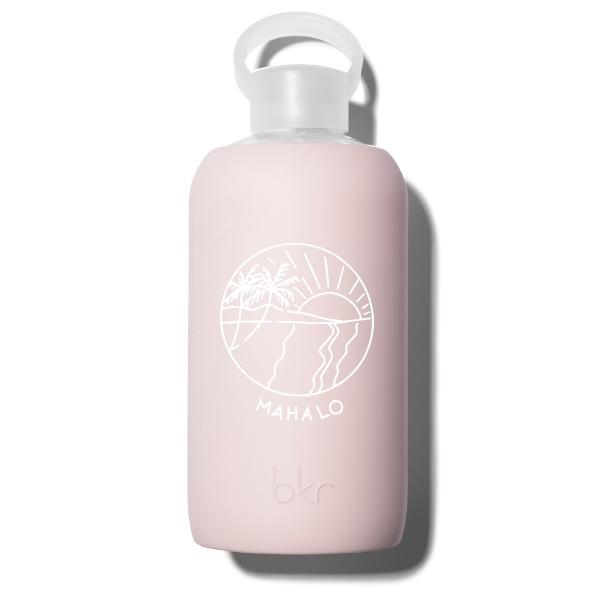 bkr Glass Water Bottle: 32oz LULU HAWAII MAHALO 1L