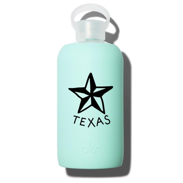 bkr Glass Water Bottle: 32oz PEPPER TEXAS STAR 1L