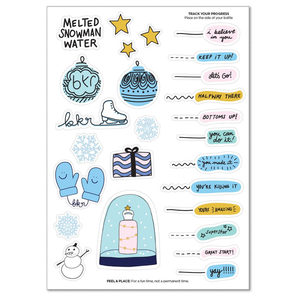 bkr Water Bottle Accessories WINTER HYDRATION GOALS STICKER SHEET