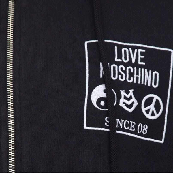Black Hoodie Love Moschino With Zip-1Style.ch