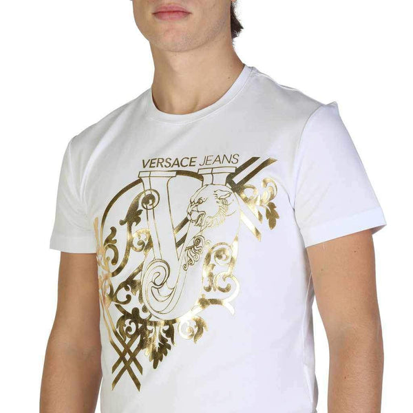 Gold Logo Print T-shirt Versace Jeans-1Style.ch