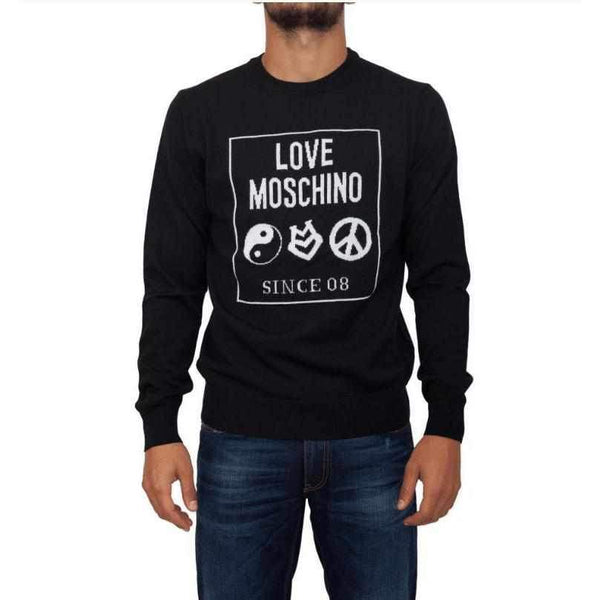 Men's Black Sweater Love Moschino with Print-1Style.ch