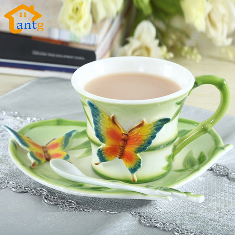 Enamel Porcelain Coffee cup Creative European home decoration mugs Consist of (Pastoral+ butterfly + bamboo)  for friend gift