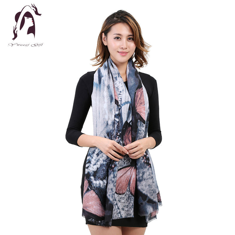 [YWJUNFU] 2017 New Fashion Soft Women Scarf Female Cotton Scarf Scarves Butterfly Long Size Girls Wraps YJF011