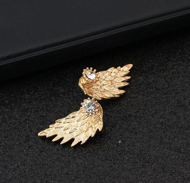 New Gothic Gold Silver Plated Cool Angel Wings Alloy Cool Feather Earring for Women Fashion Jewelry Gifts Boucle D'oreille Femme