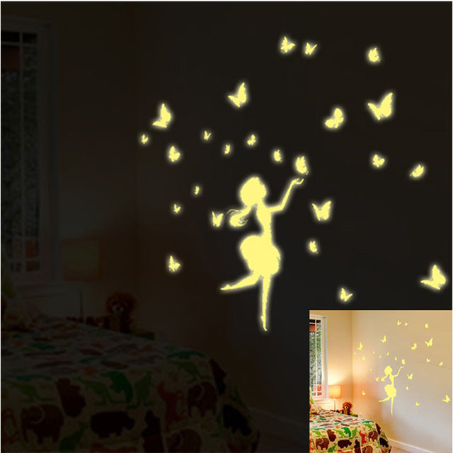 New DIY luminous paster home decor wall stickers dandelion butterfly girl creative figures posters arts fluorescence sticker