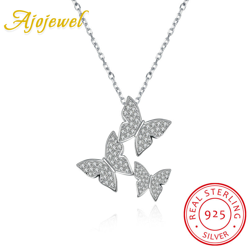 Ajojewel Micro Pave CZ Butterfly Silver Choker Necklace Womens 925 Sterling Silver Jewelry Suppliers Party Wedding Jewelry Gifts