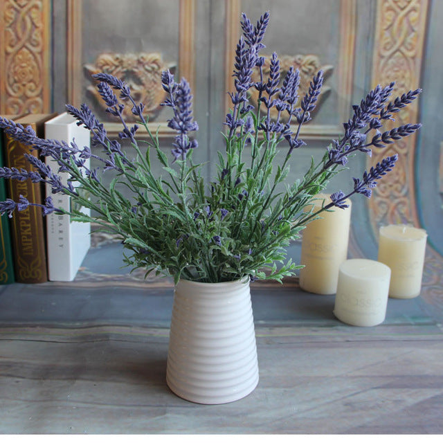 Mini Fresh Green Fake Plants Artificial Bouquet Lavender Leaves Grass Wedding Home Floral Decor Flowers Arrangement