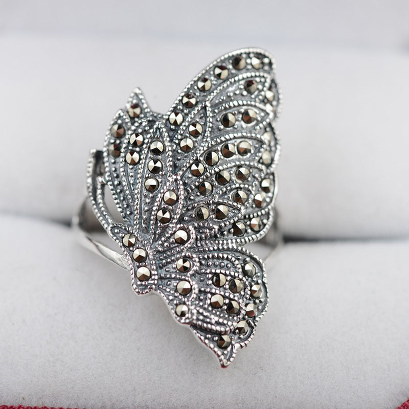 V.YA Vintage 925 Silver Rings Butterfly Shape MARCASITE New Fashion 100% S925 Solid Sterling Silver Ring for Women Men Jewelry