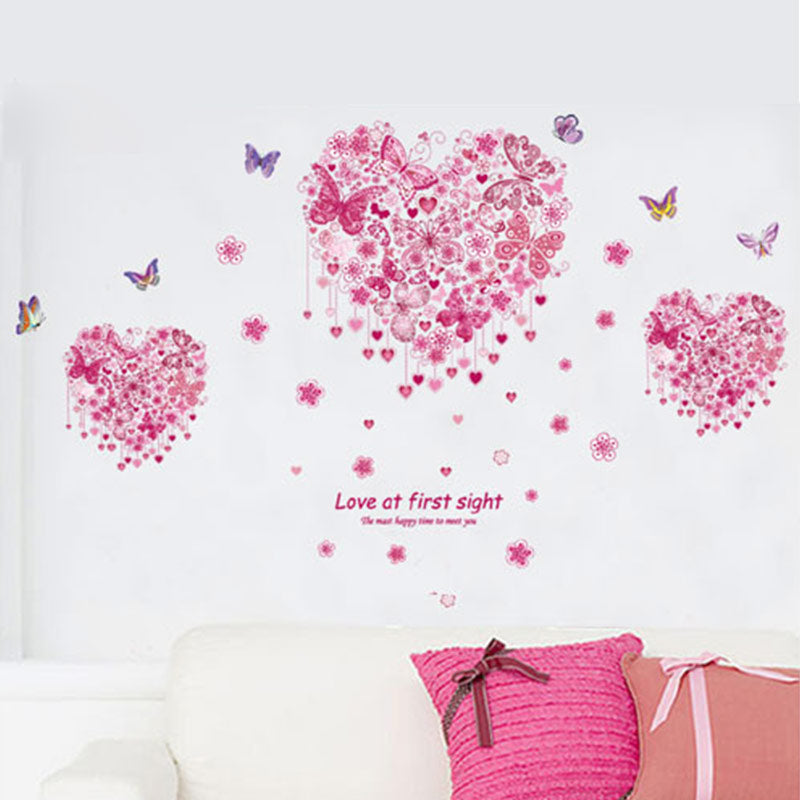 Pink Flower Butterfly Heart Love At First Sight Wedding Decoration Girls Bedroom Wall Sticker Home Decor Decal Poster