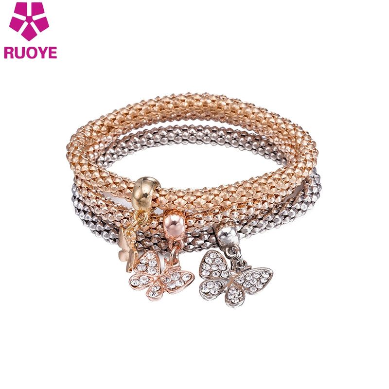 RUOYE 3pcs/set Fashion Women Bracelet Butterfly Crystal Bracelet Brand Design Jewelry 2017 New Arrivals