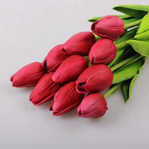 Hot sell 30pcs/lot Artificial Flowers Mini Tulip with Leaves Flower Bouquets Home Wedding Decoration