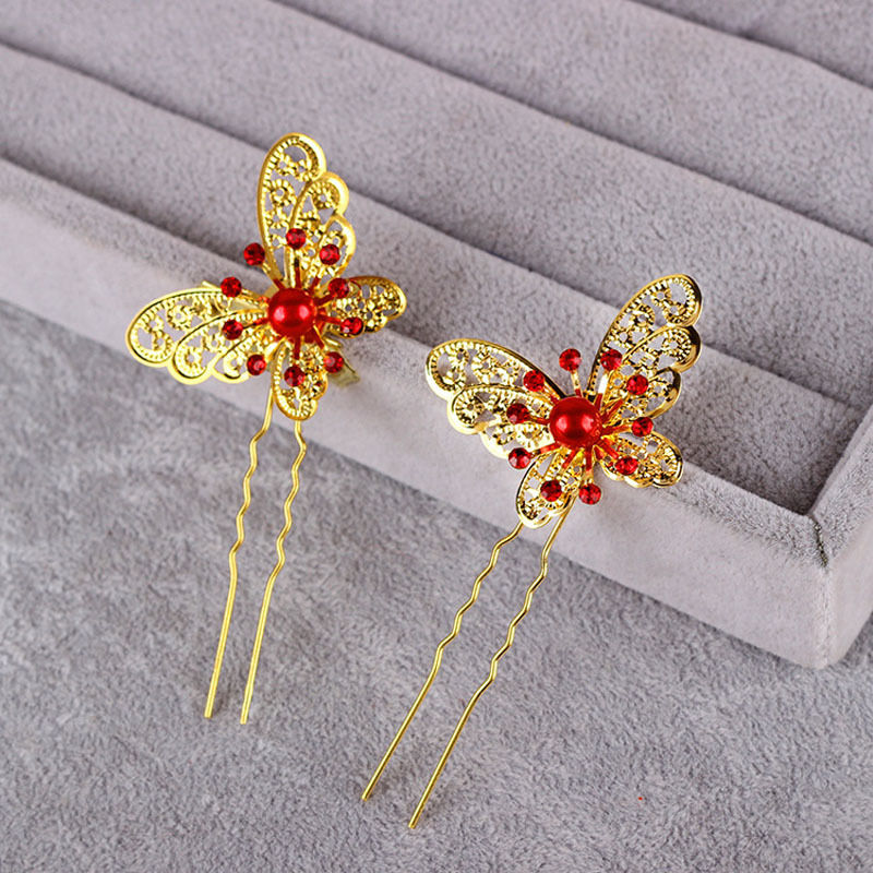3 Pcs Bride Butterfly Crystal Rhinestone Hair Pin Wedding Dress Costume Headdress Shaped Hairpin Hairgrips Accesories