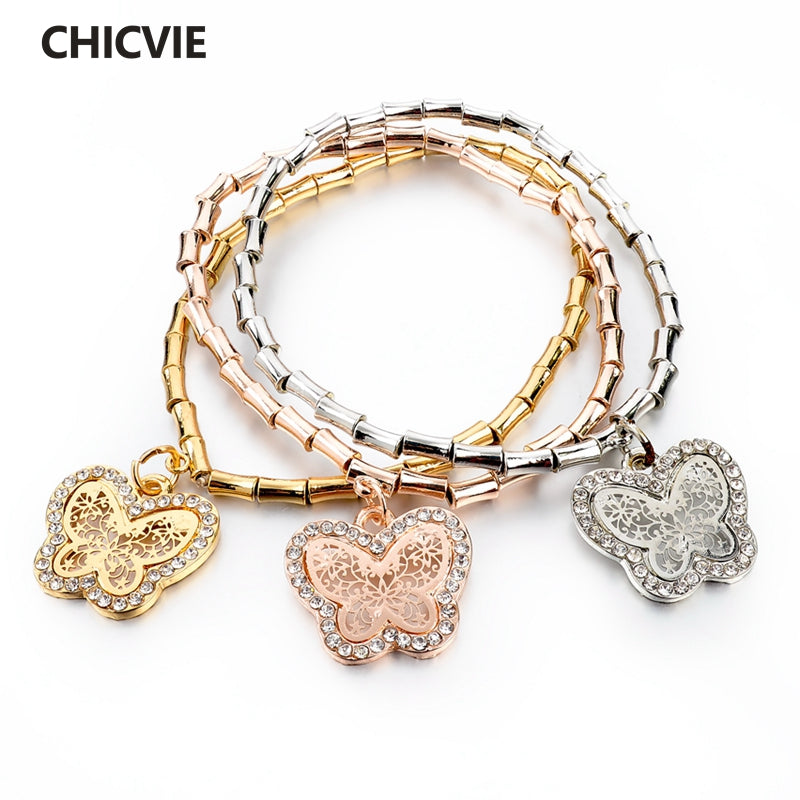 CHICVIE Crystal Butterfly Charm Bracelets & Bangles For Women Vintage Gold Color Bracelet Femme Jewelry Pulseras Mujer Sbr140601