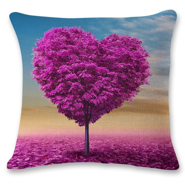 SMAVIA Popular Purple Trees Design Cushion Covers Purple Butterfly Portraits Pillowcase Car/ Chair/ Sofa Pillow Covers 45*45 cm