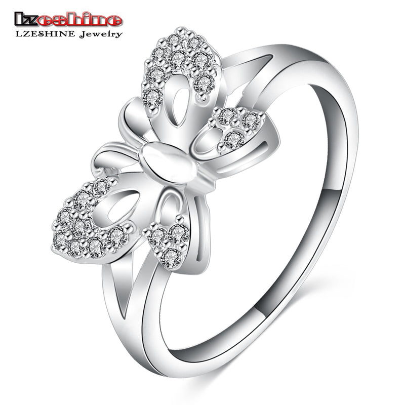 LZESHINE 2016 Latest Fashion Promise Rings for Women Silver Color Romantic Butterfly Shape Knuckle Rings CRI0100-B