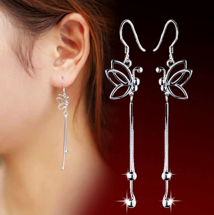 New Fine Korea Silver Plated leaves Butterfly Long Tassel Twisted Earrings for Women Fashion Jewelry 5Y055