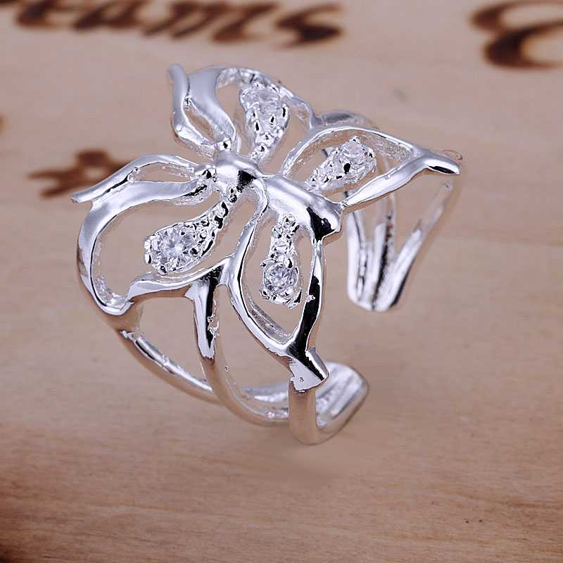 Free Shipping Wholesales fashion jewelry 925 stamp silver plated rings for women wedding ring Butterfly aliancas charm SMTR035