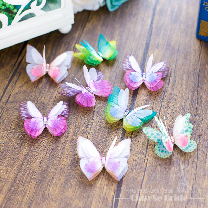 8pcs Cute women hair clips butterfly hairpins vintage hair ornaments girl hairgrips festival wedding accessories Gifts caidie