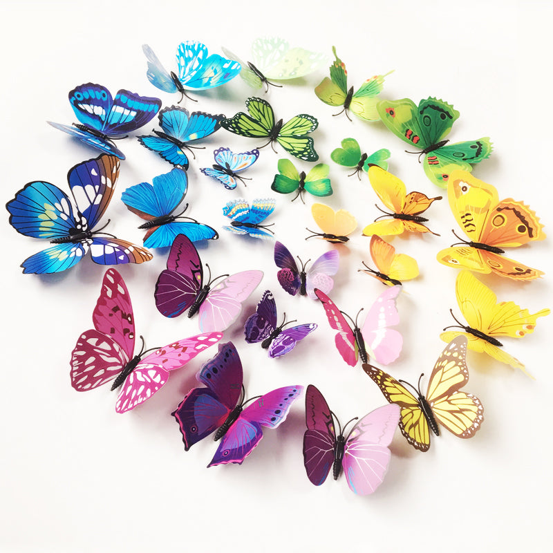 12X3D PVC Magnet Butterflies DIY Wall Sticker Home Decor For Home Fridage Decoration Paper Wedding Wall Decals For Kids Room TV