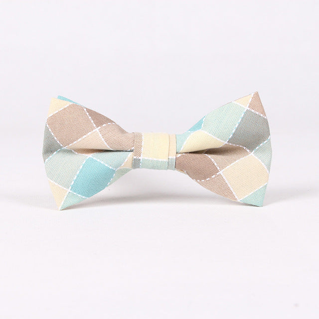New Fashion Men's Adjustable Cotton Bowtie for Men Wedding Prom Party Neckwear Plaid Bow Ties Women Butterfly Cravat