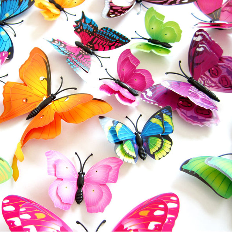 12pcs Mix Size 3D Butterfly Decals Creative Double-Layer Color Butterfly Wall Paste Wall Decor Butterflies DIY Wall Stickers