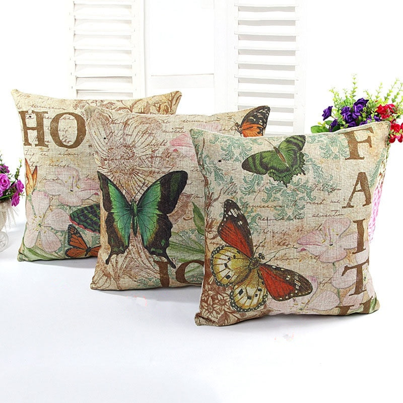 Pillow Case Flower and Butterflies Cotton Linen Cushion Cover Bedroom Sofa Car Cushion Covers Throw Decorative Pillowcases