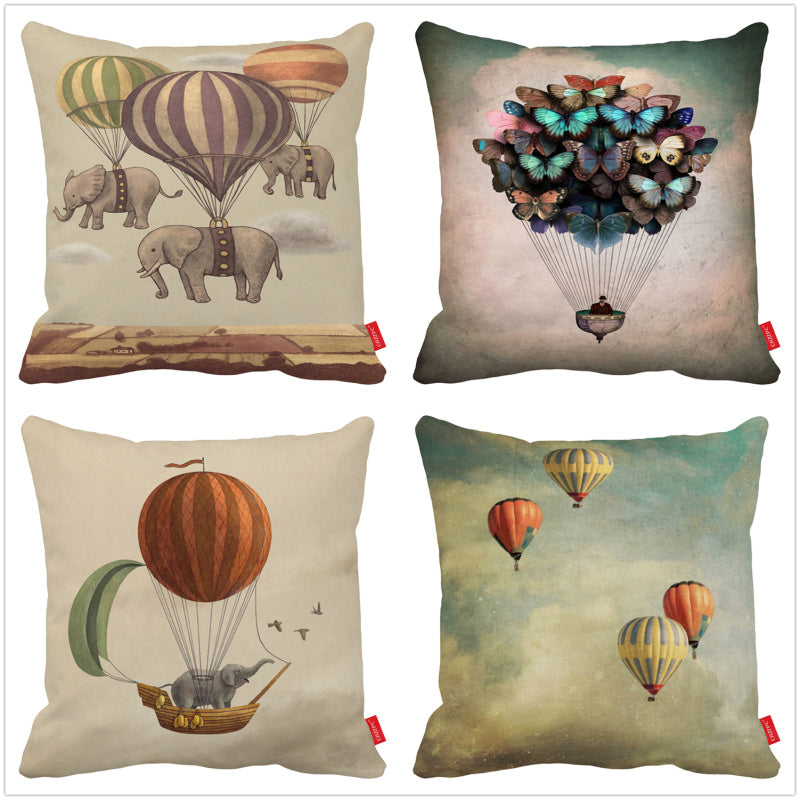 Vintage Butterfly Elephant and Hot Air Balloons Print Decorative Throw Pillowcase Pillow Case Cushion Cover Sofa Home Decor