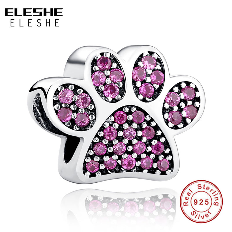ELESHE 925 Sterling Silver Heart Crystal Charms with Footprint ,Butterfly Beads Fit Original Pandora Charm Bracelet DIY Jewelry