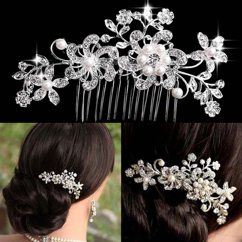 TREAZY Bridal Wedding Flower Butterfly Crystal Rhinestone Pearl Diamante Women Hair Clip Hair Comb Wedding Hair Accesories
