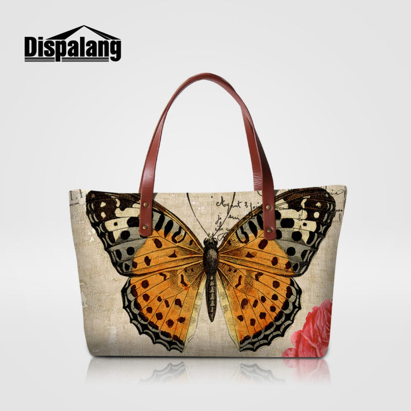 Dispalang Brand Women Bag Animal Butterfly Print Handbags Female Casual Shoulder Bag Ladies Beach Bags Girls Top-handle Bags