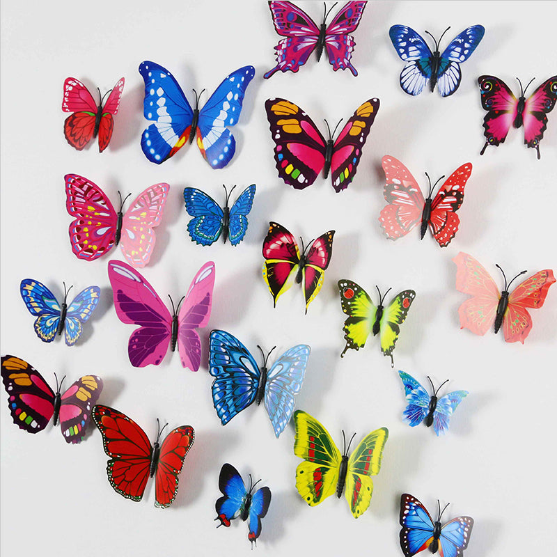12 pieces/lot PVC 3d Butterfly wall decor cute Butterflies wall stickers art Decals home Decoration 3d butterfly wall stickers