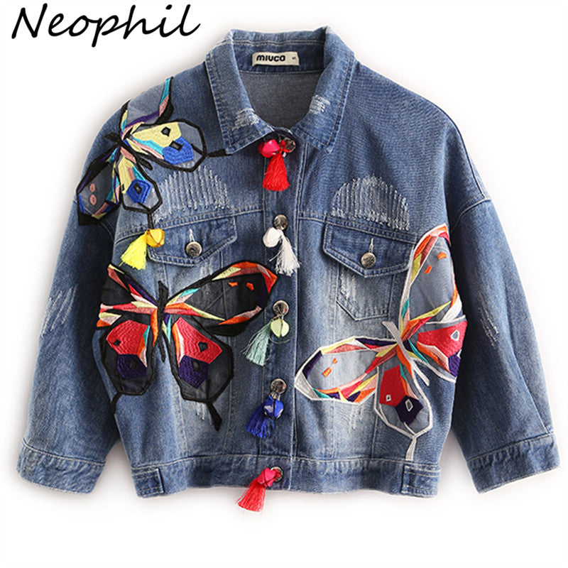 Neophil 2017 Fall Winter High Waist Women Ripped Short Denim Jackets Ladies Tassel Patches Butterfly Embroidery Jean Coat C08029
