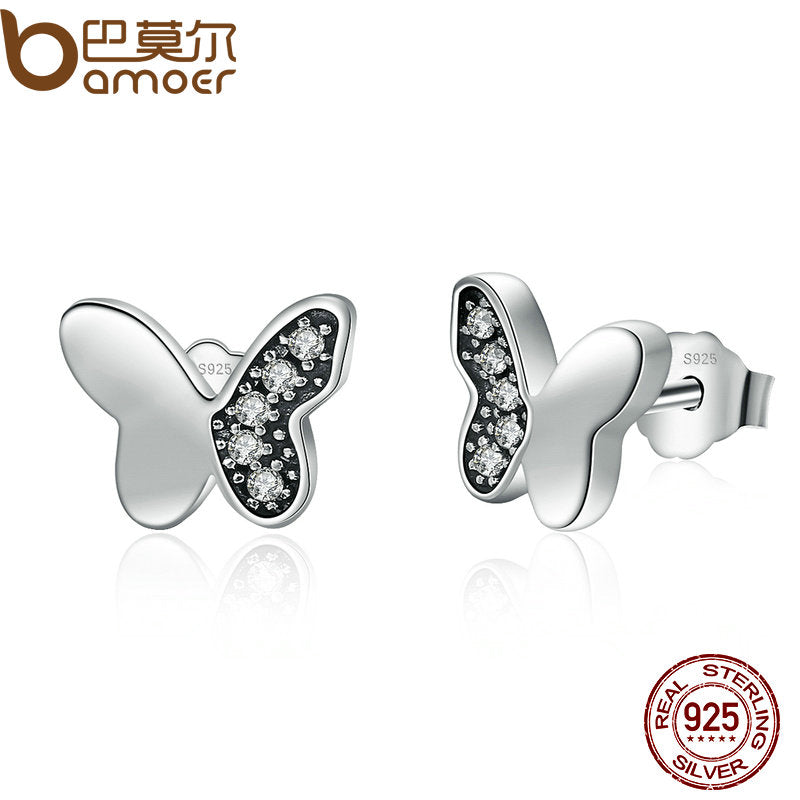 BAMOER Hot Sale Real 925 Sterling Silver Clear CZ Butterfly  Stud Earrings Women Fashion Animal Jewelry Oorbellen PAS497