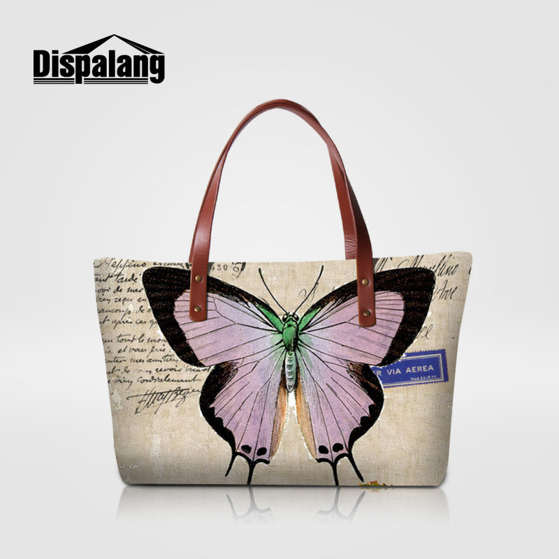 Dispalang Women Bag  Vintage butterfly Printing Ladies Handbag Summer Beach Bag Female Shopping Bag Big Tote Travel Shoulder Bag