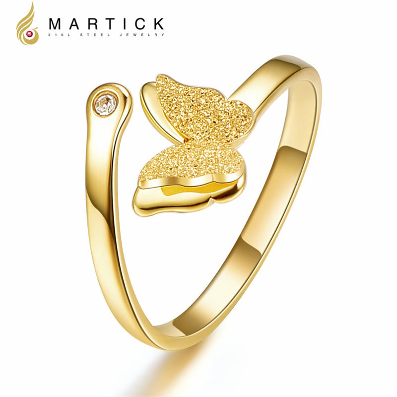Martick Scrub Butterfly Ring 316L Stainless Steel Gold-color Animal Opening Ring With Crystal Fashion Jewelry For Women R24