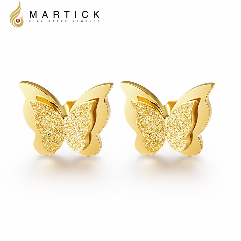 Martick Butterfly Earrings Rose Gold-color Stainless Steel Silver Brincos For Women Trendy Animal Earrings Fashion Jewelry E154