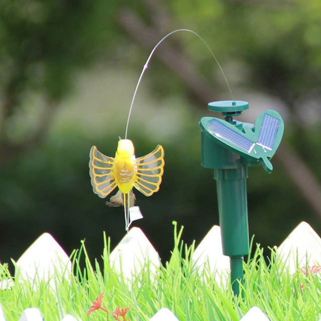 Vibration Solar Powered Dancing Flying Butterfly Garden Wall Yard Decoration