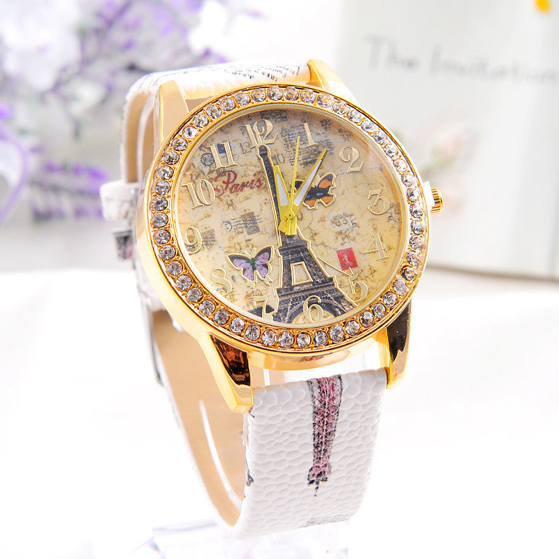 Smilelee Fashion Quartz Watches Women PU Leather Paris Style Tower Butterfly Colorful Dress Watch relogio feminino