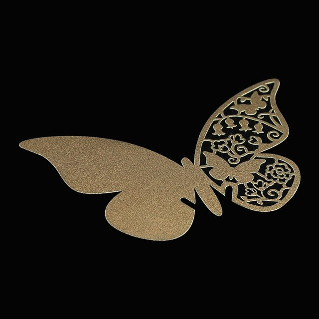 30pcs/lot Laser Cut Paper Butterfly Wine Glass Card Name Place Cup Escort Card for Wedding Christmas Birthday Party Decorations