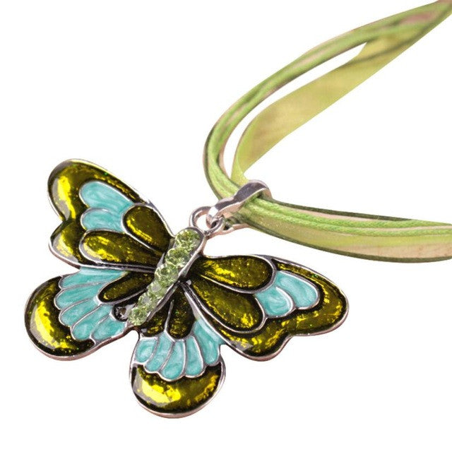 necklace  Exaggerated drip ribbon with colored butterfly Women Jewelry Enamel Butterfly Crystal Silver Necklace Chain #GH35