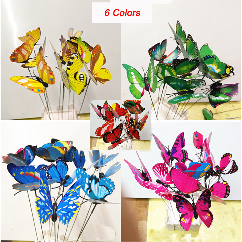 Colourful Garden Plastic Butterflies On Sticks Dancing Flying Fluttering Butterfly DIY Art Ornament Vase Lawn Garden Decoration