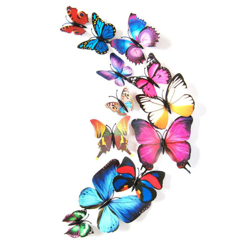 12PCS 3D Butterfly Wall Stickers for Home Living Room Kids Bed Room Decoration PVC Butterflies Sticker papel de parede