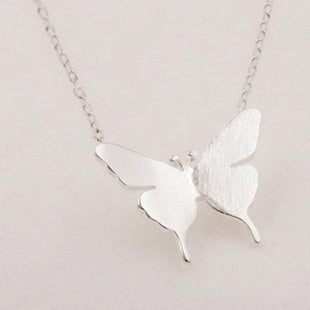925 Sterling Silver Jewelry Lovely Girl Butterfly Necklace New Summer Statement Jewelry For Women Bijoux
