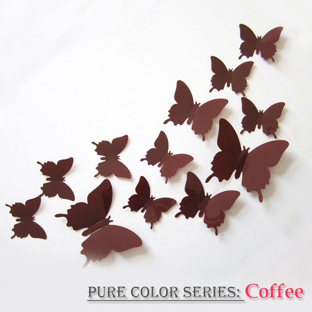 12 Pcs/set 3D PVC Double Butterfly Wall Sticker Butterfly on the wall Home Decor New Arrival Fridage stickers Decoration