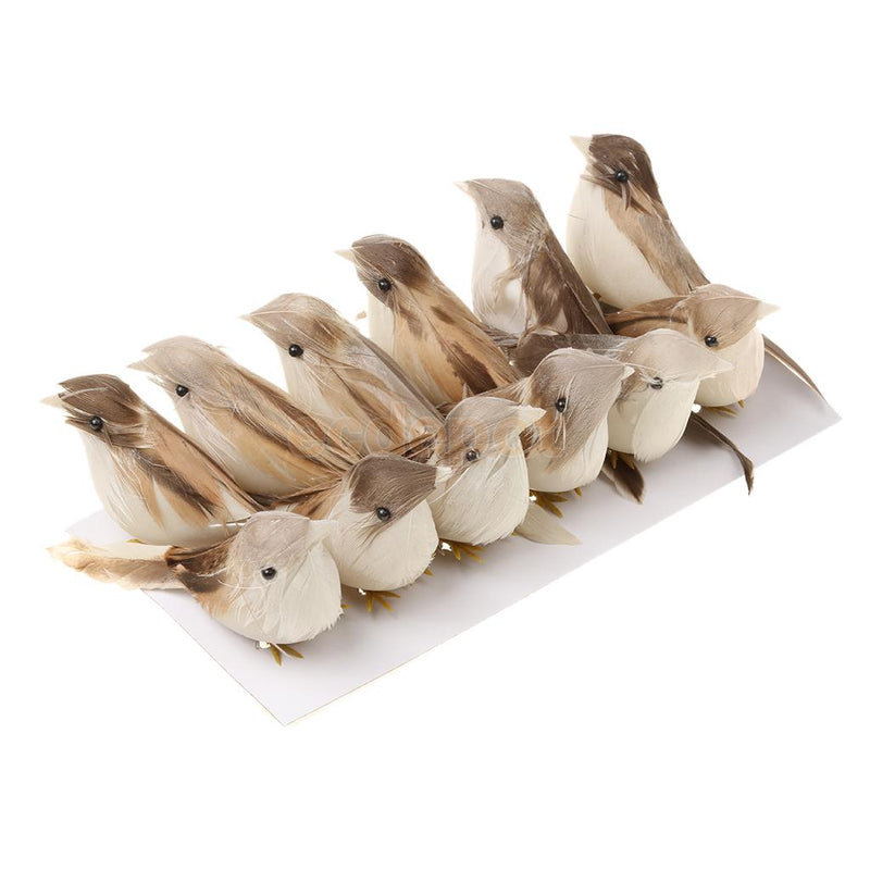 12Pcs Artificial Feather Bird Xmas Tree Decor Craft Wedding Doves Ornament